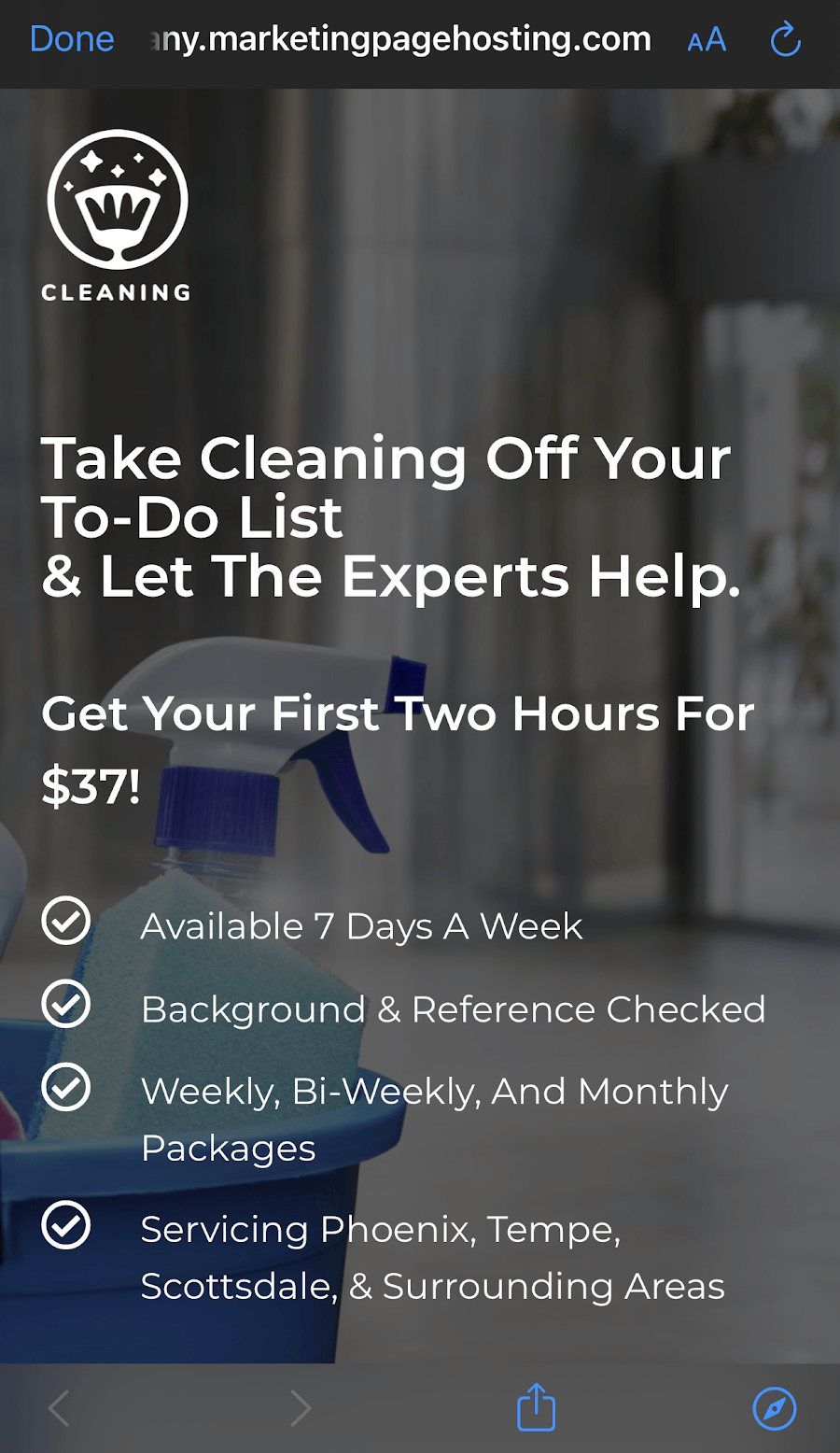 A mobile optimized site for a cleaning company.