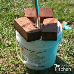 DIY Umbrella Stand with bricks - thehotmesskitchen