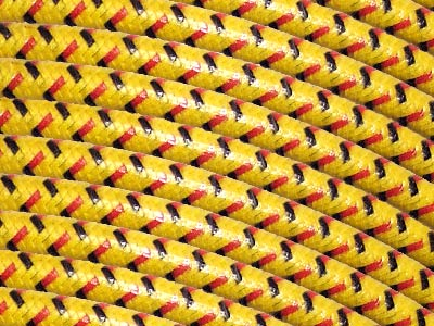7mm lacquer Spark Plug Wire - Yellow w/ Red and Black Tracer on