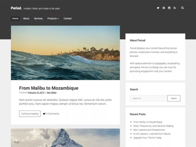 free simple wordpress blog themes