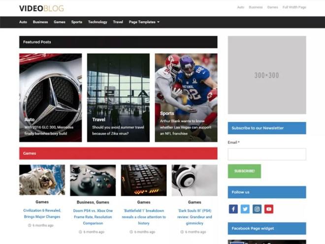 best video blog wordpress themes