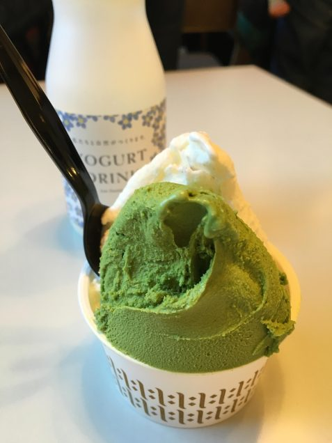 green tea and milk ice cream