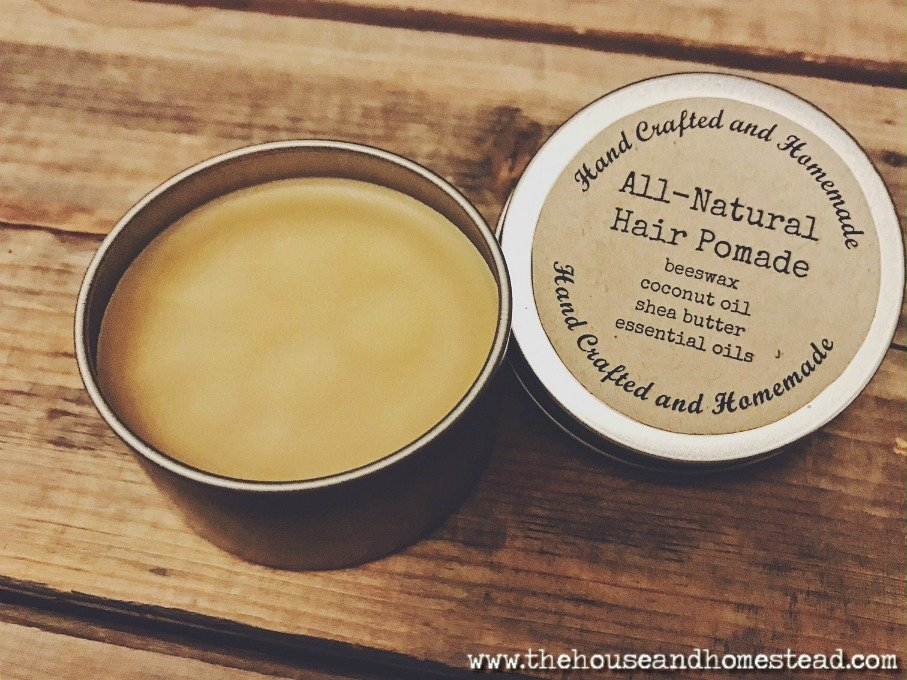 This DIY hair pomade is frugal and functional. Made from all-natural ingredients like beeswax and coconut oil, it also makes a great homemade gift for men!