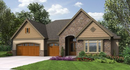 craftsman house plan with walkout basement Front Rendering