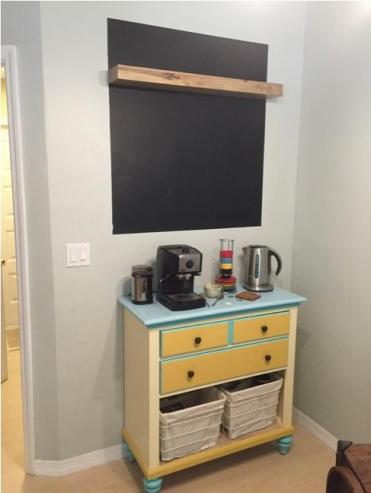 Painted board with chalkboard paint and shelf from Target