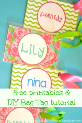 Back to School - DIY personalized Bag Tags and Printables for Lunch Box and Backpack[the House of Hendrix}