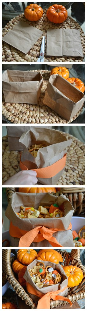DIY Brown Paper Bag Bowl & Halloween Trail Mix recipe |the House of Hendrix