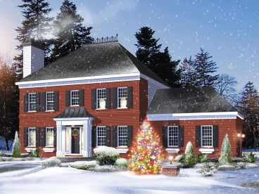 Colonial House Plans   The House Plan Shop Colonial House Plan  072H 0243