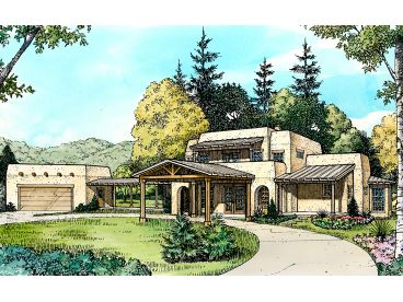 Adobe House Plans   Two Story Adobe Home Plan Design  008H 0019 at     Adobe House Plans   Two Story Adobe Home Plan Design  008H 0019 at  TheHousePlanShop com