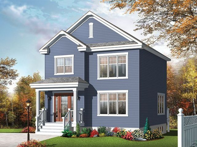 Small Home Plans   Small Two Story House plan Fits a Narrow Lot     Starter Home Plan  027H 0334