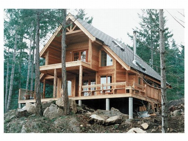 A Frame House Plans   A Frame Home Plan is a Weekend Cabin Design     A Frame House Plan  Rear  010H 0004