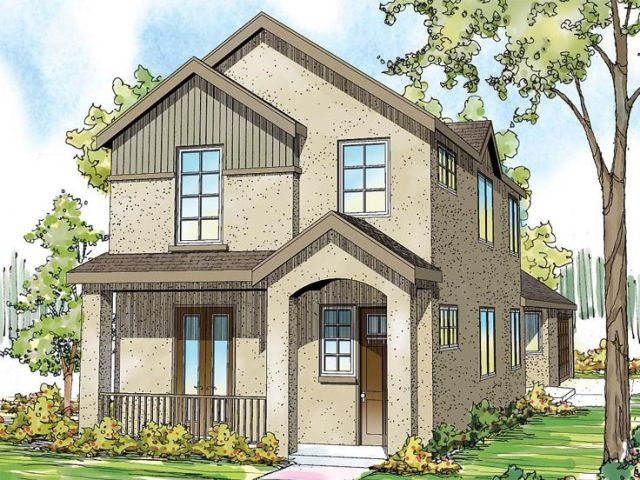 Narrow Lot Home Plans   2 Story Narrow Lot House Plan   051H 0211 at     Narrow Lot House Plan  051H 0211