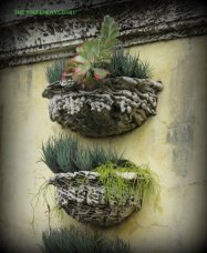 Wall pockets filled with succulents