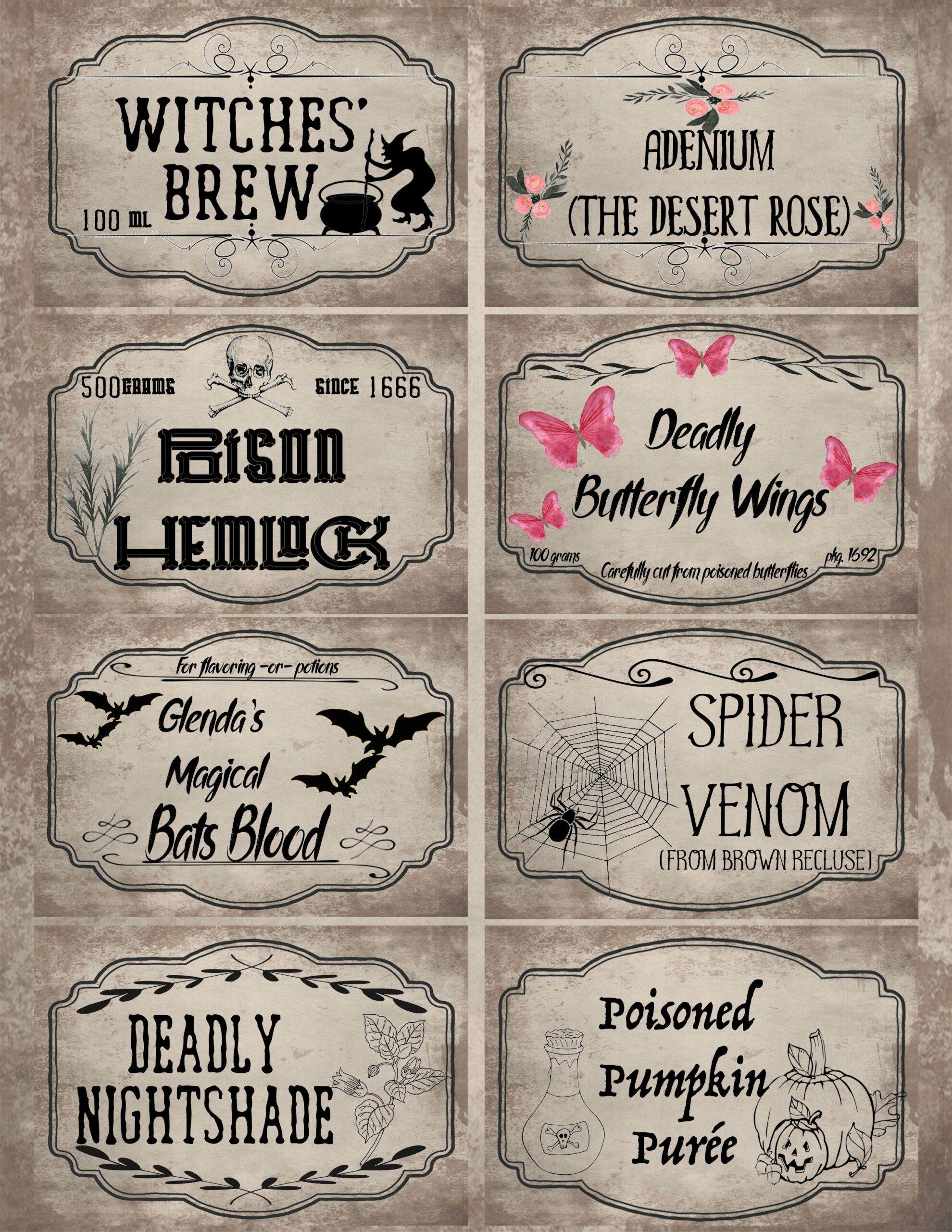 Free Printable Halloween Apothecary Labels 16 Designs