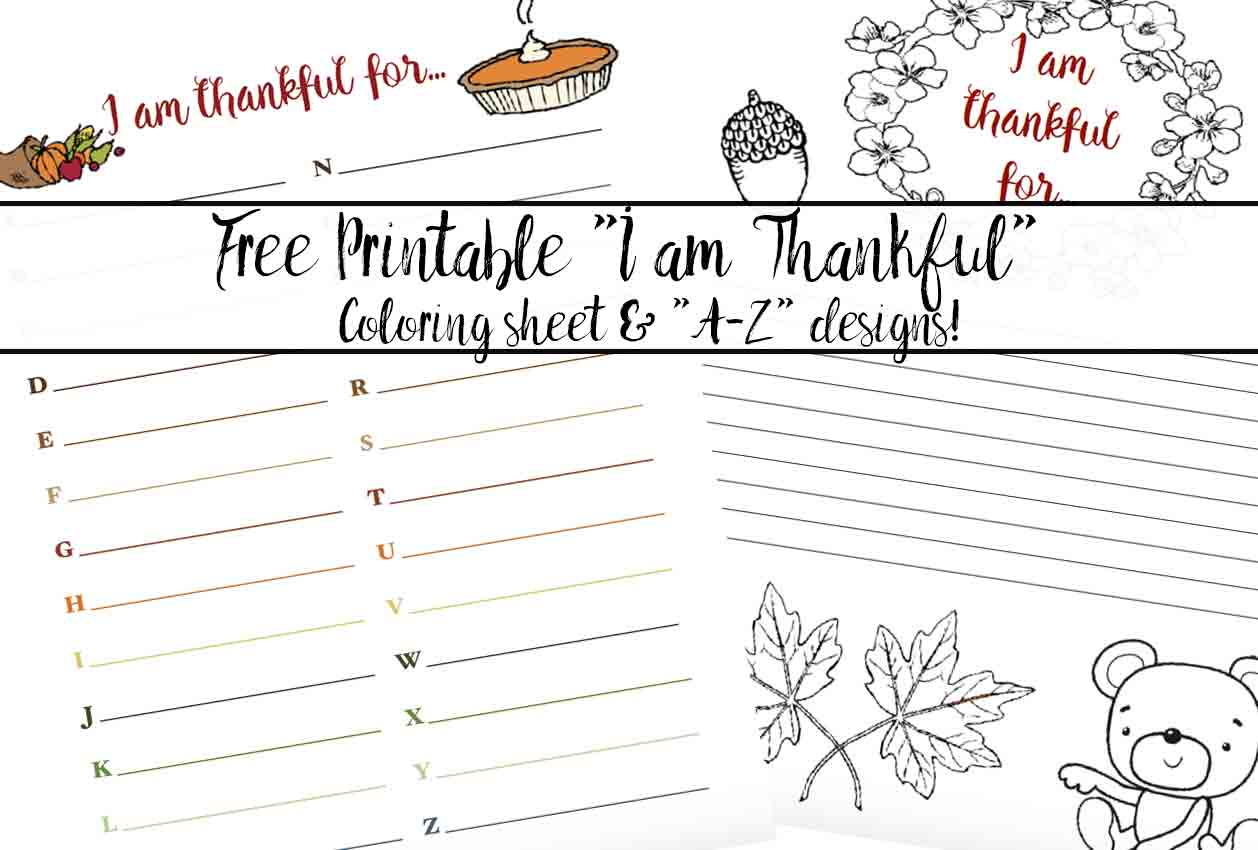 I Am Thankful For Worksheets