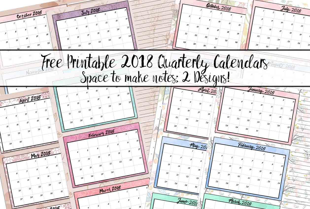 Free Printable Quarterly Calendars 2 Designs