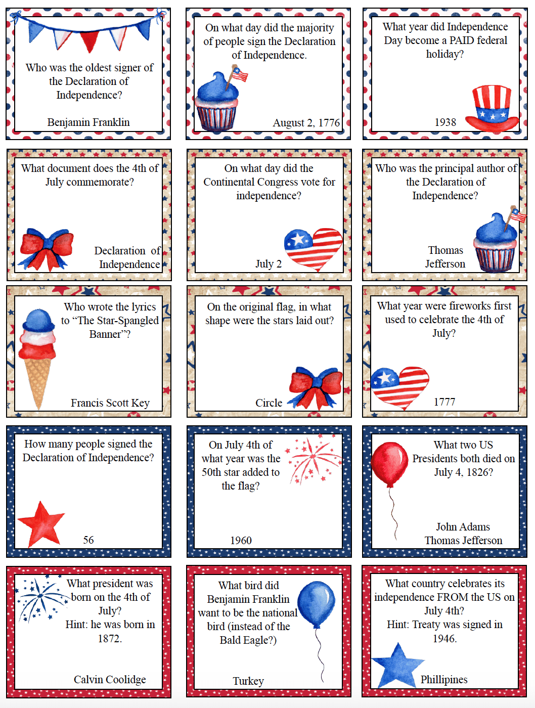 Free Printable 4th Of July Trivia