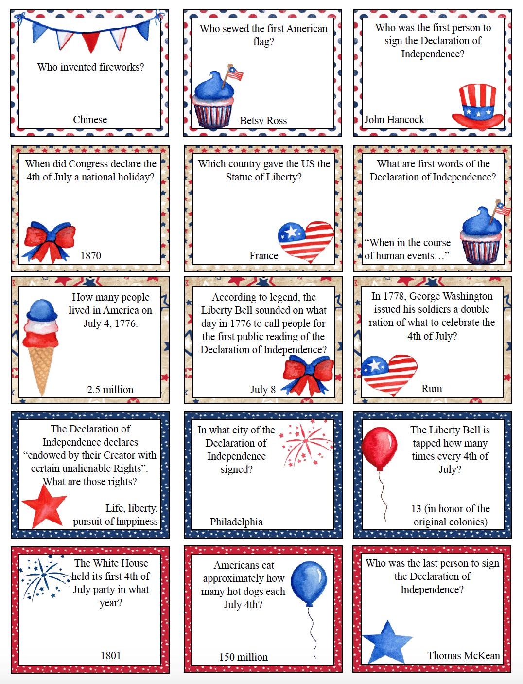 Free Printable 4th Of July Trivia