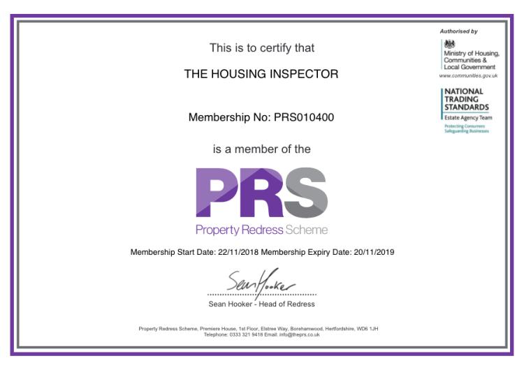 PRS Certificate
