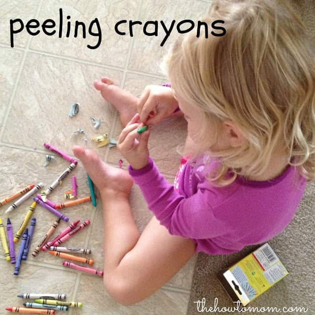 Keeping Toddlers Busy - peeling crayons!
