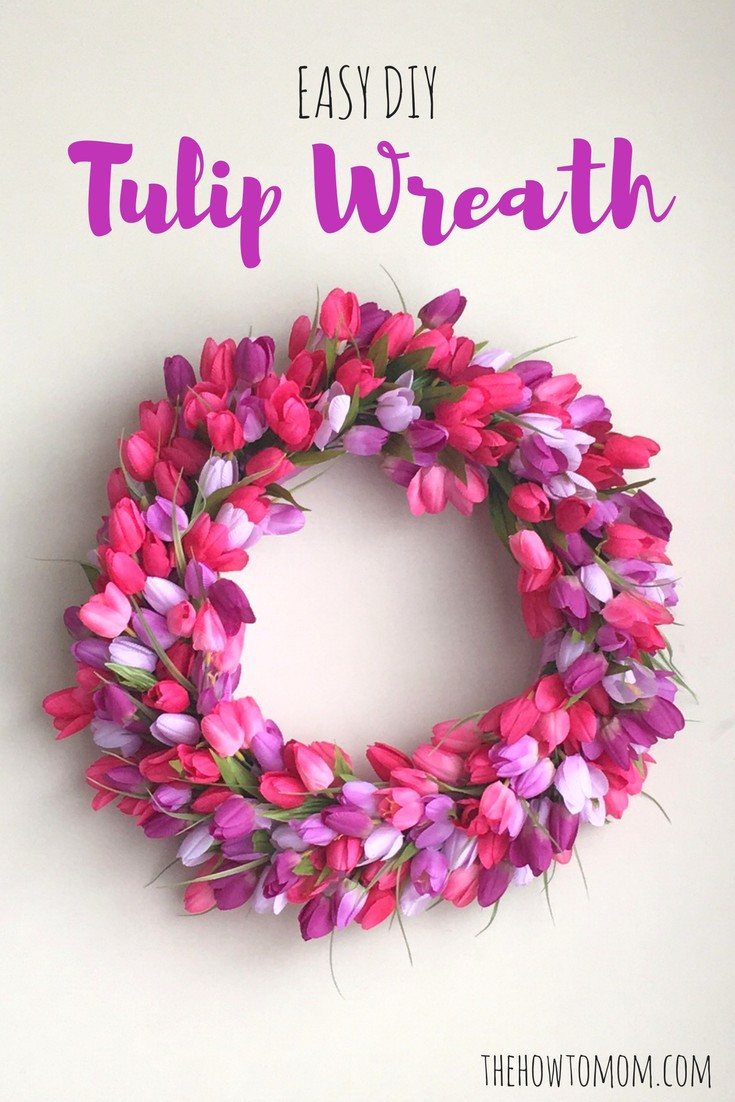 Easy DIY Tulip Wreath - with pink and purple tulips