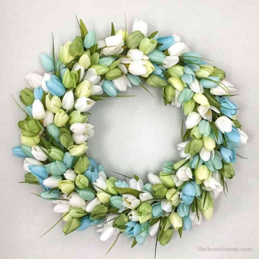 Blue and Green Tulip Wreath