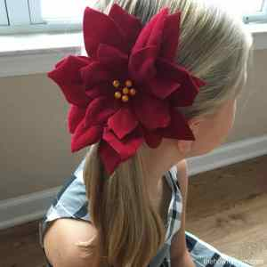 Poinsettia Hair Clip DIY – Easy Dollar Tree Craft