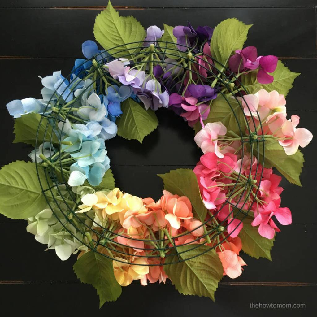 DIY Rainbow Hydrangea Wreath - using a wire wreath form and floral wire