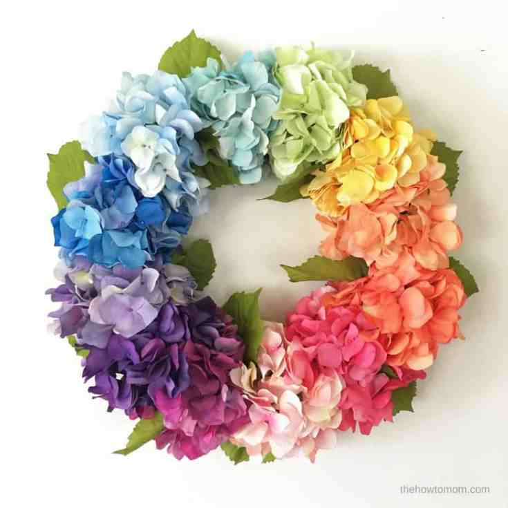 Easy Rainbow Hydrangea Wreath