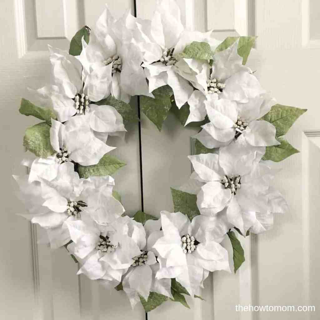 Snowy white poinsettia wreath DIY
