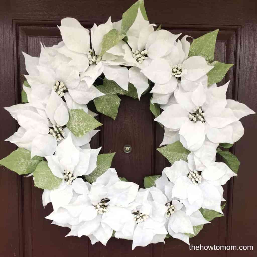 Gorgeous modern poinsettia wreath DIY