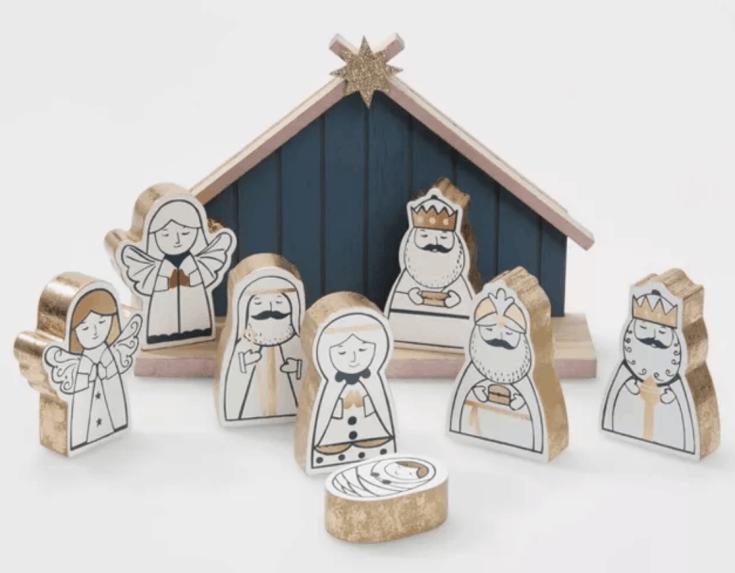 Rose gold wood nativity set - 9 pc