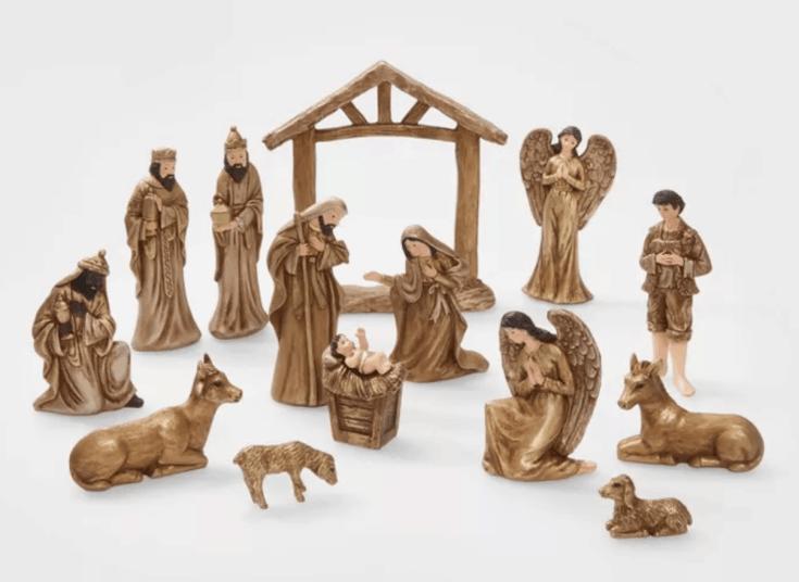 Metallic nativity set - 15 pc