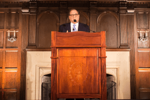Former Anti-Defamation League National Director and Holocaust survivor Abraham Foxman spoke on anti-Semitism in the Copley Formal Lounge on Feb. 23.