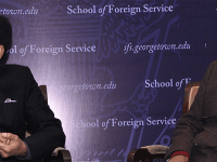 SFS Dean Joel Hellman (not pictured) met with MP Suresh Prabhu (left) and MP Piyush Goyal (right) when he visited India for the launch of Georgetown's India Initiative in Dec. 2015.