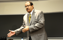 "SARI FRANKEL/THE HOYA Professor Michael Eric Dyson has garnered both national acclaim and criticism this semester for his class, ""The Sociology of Hip-Hop: Urban Theodicy of Jay-Z."""