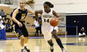File Photo: MARISSA AMENDOLIA/THE HOYA Sophomore guard Sugar Rodgers took a team-high 17 shots and scored 13 points on Saturday at Seton Hall.