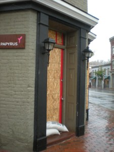 NIKITA BULEY/THE HOYA Papyrus, at 1300 Wisconsin Ave., was one of several Georgetown businesses to board up doors and windows in anticipation of Hurricane Sandy's wrath.