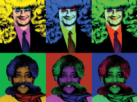COURTESY THOMAS LLOYD  The project features altered images of figures, such as University President John J. DeGioia, top, and LGBTQ Resource Director Shiva Subbaraman.