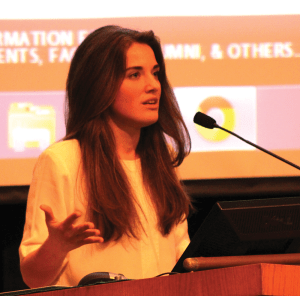 "CHARLIE LOWE/THE HOYA Ukrainian activist Yulia Marushevska, who became a symbol of the Euromaidan protests with her appearance in the viral ""I Am A Ukrainian"" video, spoke Tuesday in ICC Auditorium about her experience and hopes for her country."