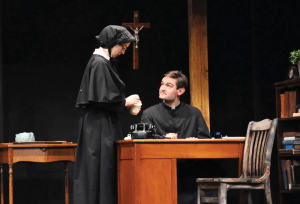 "Olivia Hewitt/The Hoya Maddie Kelley (COL '16) and Addison Williams (COL '14) gave powerful performances that created a tense web of secrecy in ""Doubt: A Parable."""