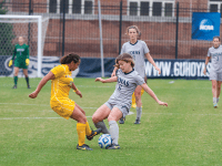 File photo: Alexander Brown/THE HOYA Senior midfielder Daphne Corboz scored one goal and added two assists in a 3-1 victory over the University of San Diego. Corboz is a nominee for the MAC Hermann Trophy Award.