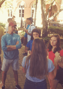 COURTESY GUSA Transfer students mingle in Dahlgren Quad during NSO. Transfers now have mentors to help ease their transition into Georgetown.