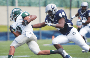 cLAIRE sOISSON/THE HOYA Junior linebacker Matthew Satchell is tied with senior linebacker and captain Nick Alfieri for the team lead in tackles with 21, including 14 unassisted in two games played.