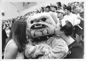 THE HOYA ARCHIVES Students with Jack the Bulldog mascot in McDonough Arena