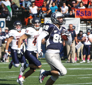 CLAIRE SOISSON/THE HOYA Sophomore tight end Mattew Buckman had four catches for 83 yards and caught on 67 yard touchdown pass in the first quarter.