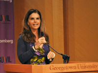 FILE PHOTO: OLIVIA HEWITT/THE HOYA Journalist Maria Shriver (CAS '77), the former first lady of California, spoke about her career and encouraged young women to be leaders in their fields at the inaugural Own It Summit in April.