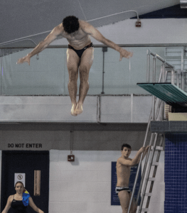 MICHELLE LUBERTO FOR THE HOYA Sophomore diver Jared Cooper-Vespa earned a record-setting score of 300.30 in the first meet of the season against Delaware.