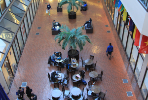 MICHELLE LUBERTO/THE HOYA The struggle for students to find a table in the Intercultural Center Galleria will continue as efforts to create new study spaces in the ICC have slowed.