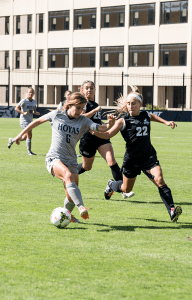 FILE PHOTO: NATE MOULTON/THE HOYA Senior midfielder and co-captain Daphne Corboz has 10 goals and eight assists this season.